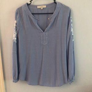 Loft blouse, blue, medium